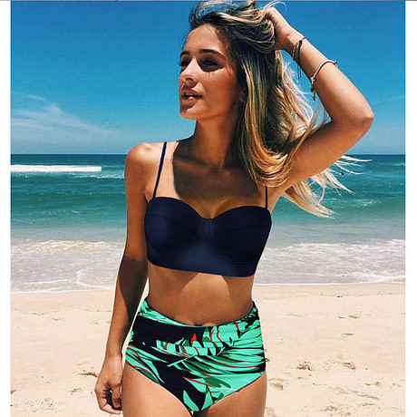 High Waist Swimsuit, Women's Bandage Top Push Up Swimwear, Female Bathing Suit