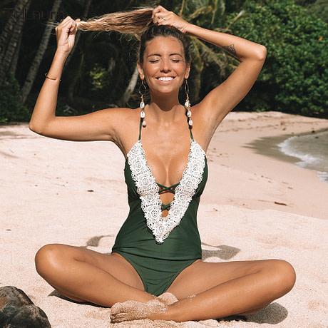 2019 Sexy Lace One Piece Swimsuit, Women's Monokini Bandage Bodysuit Beach Wear Bathing Suit