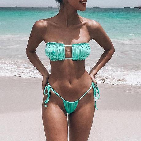 Sexy Micro Bikini, 2019 Ruffle Brazilian Swimsuit, Women's String Bandeau Swimwear, High Cut Bikini 3