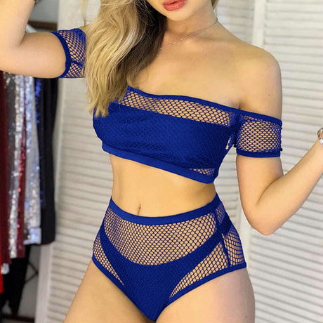 New 2019 Mesh High Waist Bikini, Off Shoulder Swimsuit, Female Push Up Sexy Bathing Suit, Bandeau Bikini Set 2