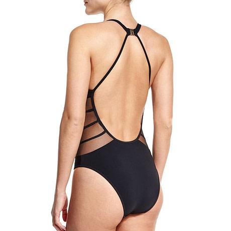 One Piece Transparent Lace Swimsuit,  Sexy Black Backless, Mesh Bandage, Large Bust Swimwear, Brazilian Bathing Suit 2