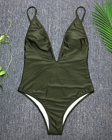 Women's Swimwear, 2019, Sexy One Piece Swimsuit,  High Cut Monokini, Deep V Swim Suit, Retro Bodysuit Bathing Suit 3