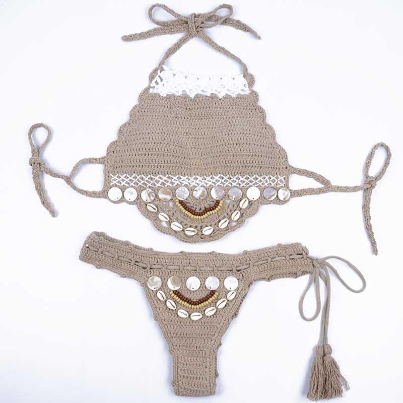 Handmade Crochet Bikinis, 2019 Sexy Tassel Swimsuit,Women's Shell Decorated Swimwear, High Neck 2 Piece Suit 33
