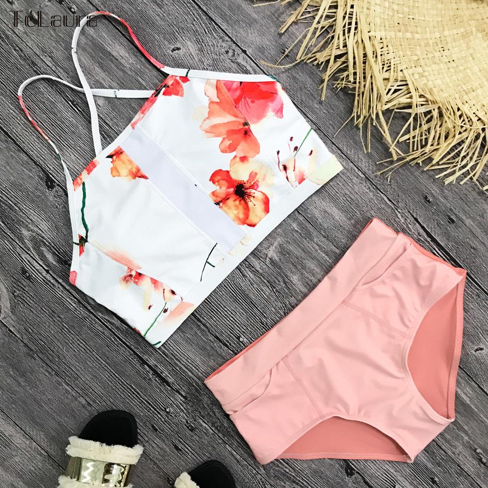 New 2 Piece, High Waist, Bikini Swimwear, Women's Push Up Biquini Bathing Suit, High Neck Women's Summer Beach Wear 8