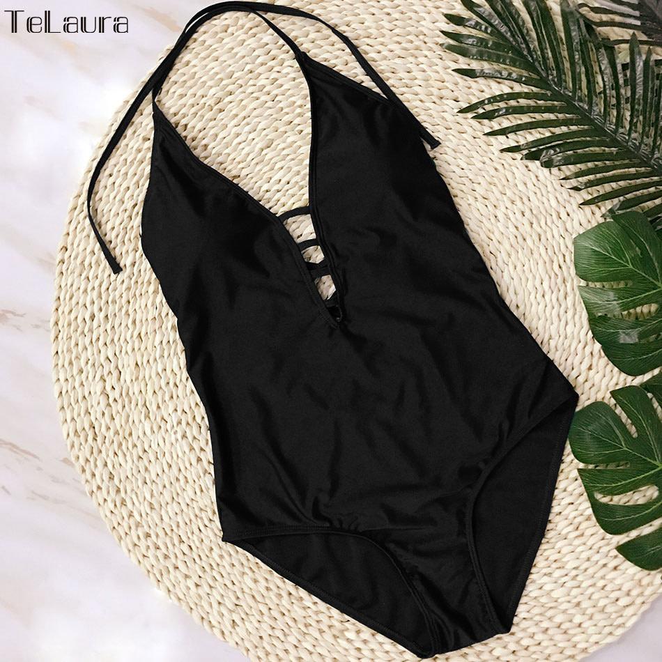 One Piece Swimsuit, Women's Bandage Vintage Beach Wear, Solid Bathing Suit, Monokini Retro Swimsuit 27