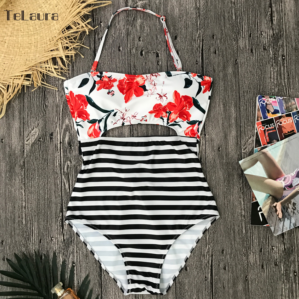 2019 One Piece Swimsuit, Women's Monokini Halter Bodysuit, Bandage Swimsuit, Hollow Out High Waist Bathing Suit 29