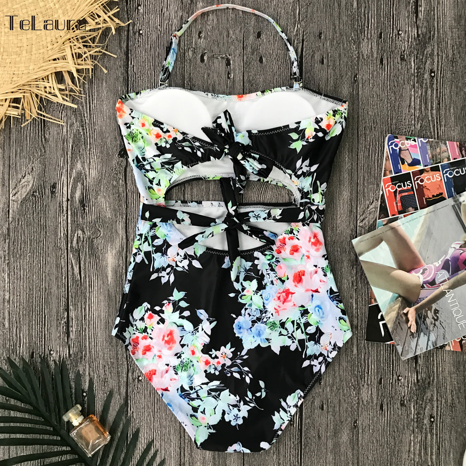 2019 One Piece Swimsuit, Women's Monokini Halter Bodysuit, Bandage Swimsuit, Hollow Out High Waist Bathing Suit 34