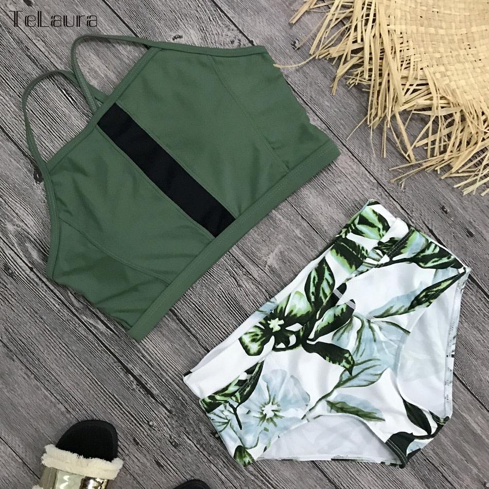 New 2 Piece, High Waist, Bikini Swimwear, Women's Push Up Biquini Bathing Suit, High Neck Women's Summer Beach Wear 12