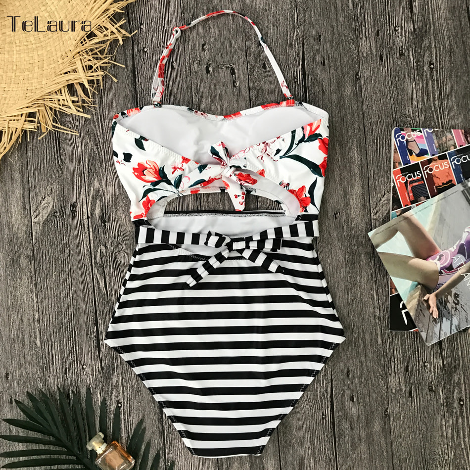 2019 One Piece Swimsuit, Women's Monokini Halter Bodysuit, Bandage Swimsuit, Hollow Out High Waist Bathing Suit 30