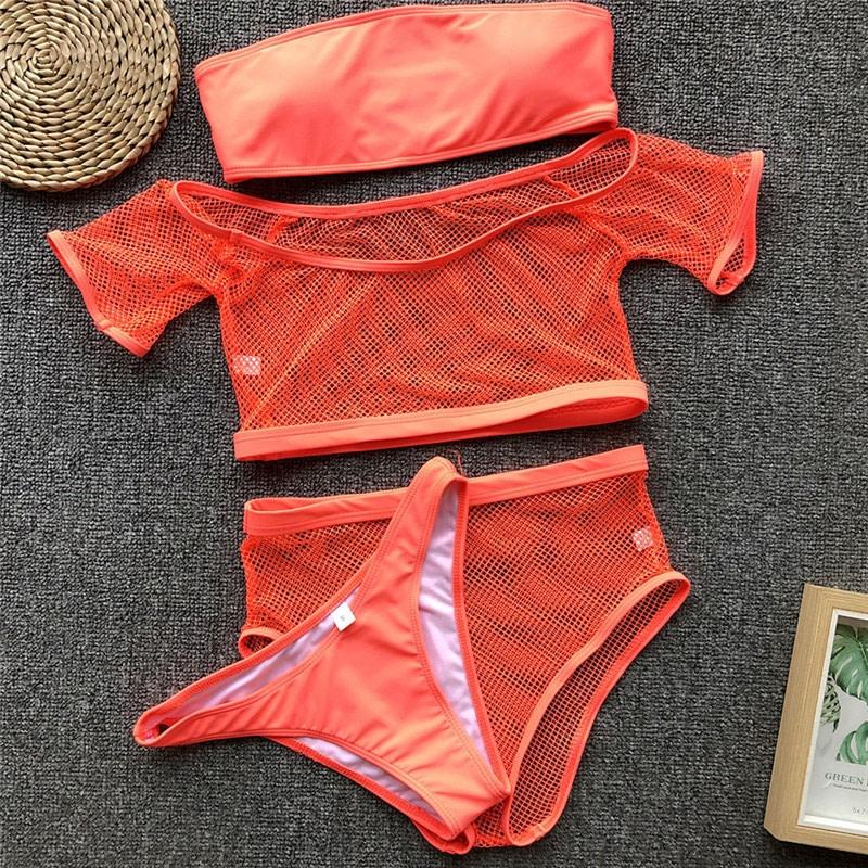 New 2019 Mesh High Waist Bikini, Off Shoulder Swimsuit, Female Push Up Sexy Bathing Suit, Bandeau Bikini Set 44