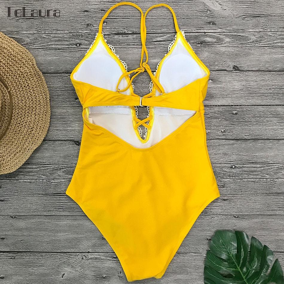 2019 Sexy Lace One Piece Swimsuit, Women's Monokini Bandage Bodysuit Beach Wear Bathing Suit 20