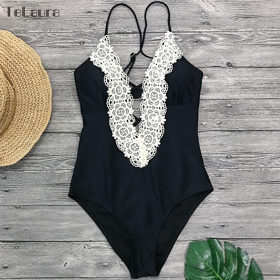 2019 Sexy Lace One Piece Swimsuit, Women's Monokini Bandage Bodysuit Beach Wear Bathing Suit 15
