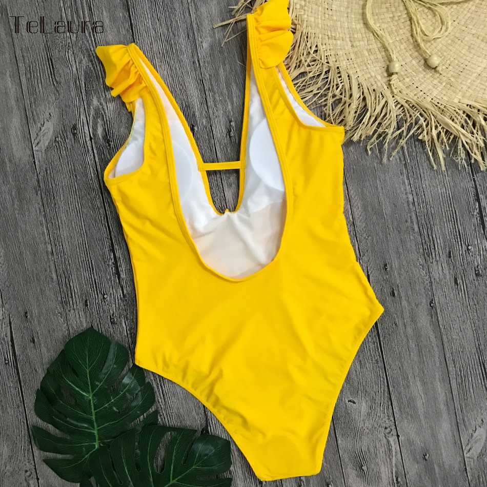 Sexy Ruffle One Piece Swimsuit, Women's Swimwear, Monokini Bodysuit Print Swim Suit, Backless Bathing Suit Beach Wear 36