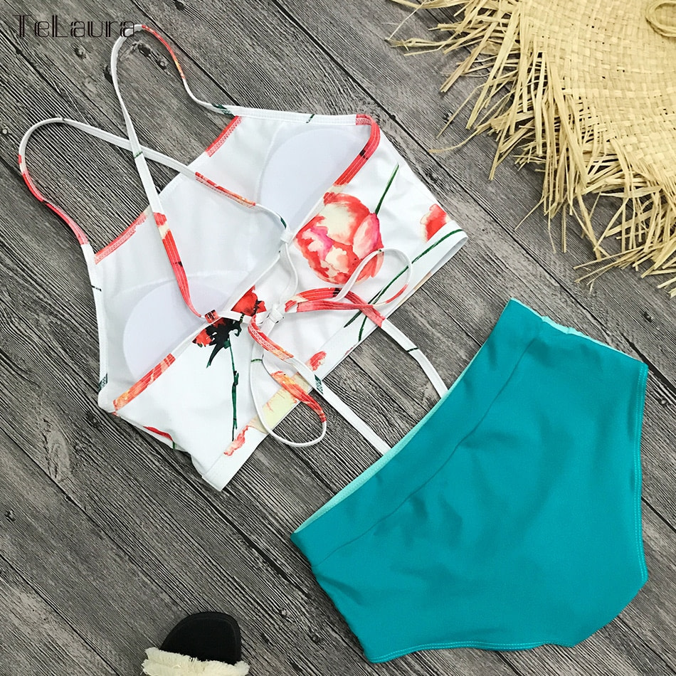 New 2 Piece, High Waist, Bikini Swimwear, Women's Push Up Biquini Bathing Suit, High Neck Women's Summer Beach Wear 11