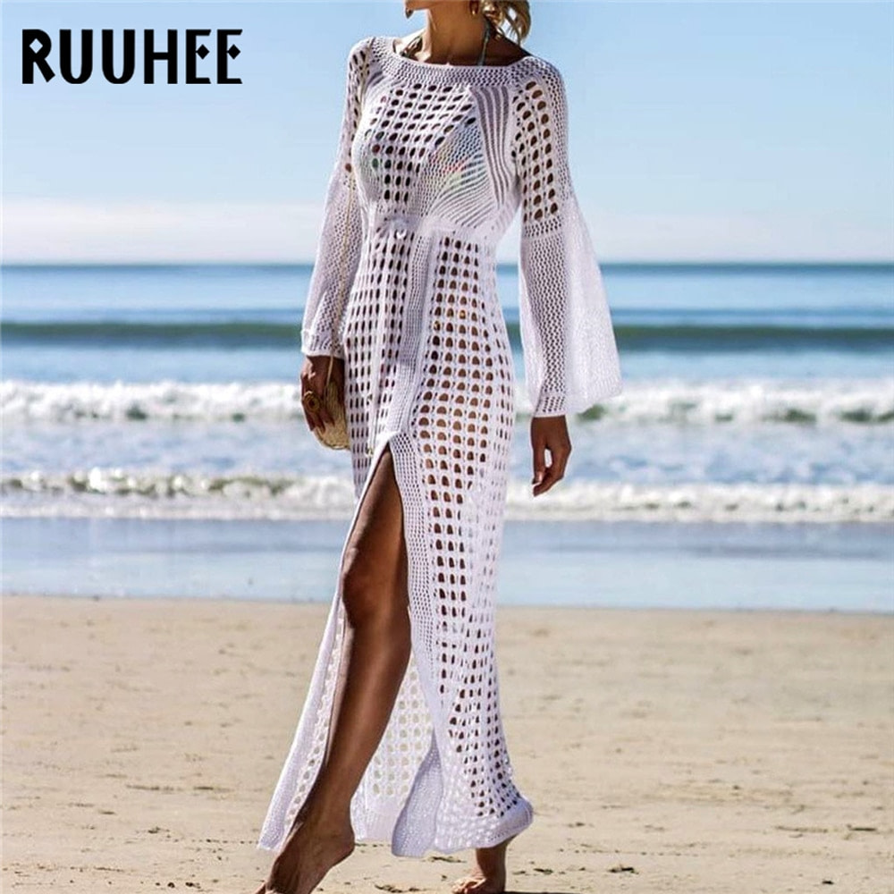 Lace Cover-Up, Women's Swimsuit Knitted, Summer Crochet See-through Hollow Beach Dress Tunic 5