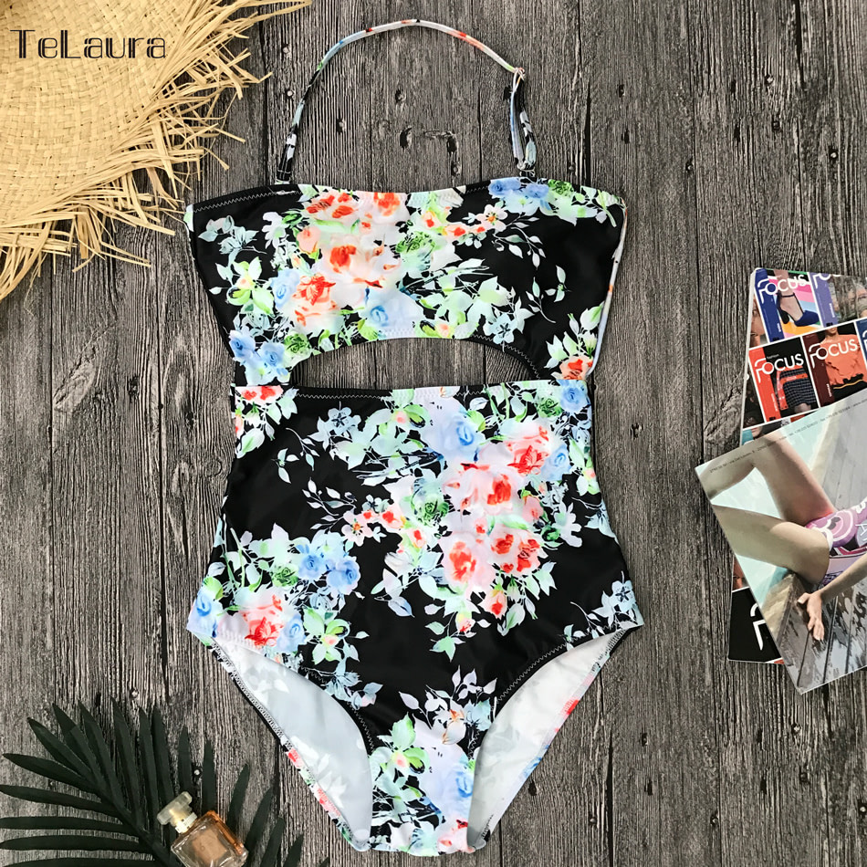 2019 One Piece Swimsuit, Women's Monokini Halter Bodysuit, Bandage Swimsuit, Hollow Out High Waist Bathing Suit 33
