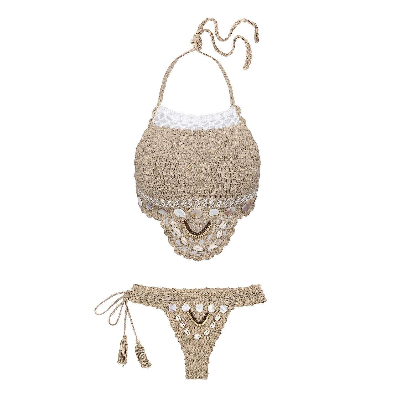 Handmade Crochet Bikinis, 2019 Sexy Tassel Swimsuit,Women's Shell Decorated Swimwear, High Neck 2 Piece Suit 20