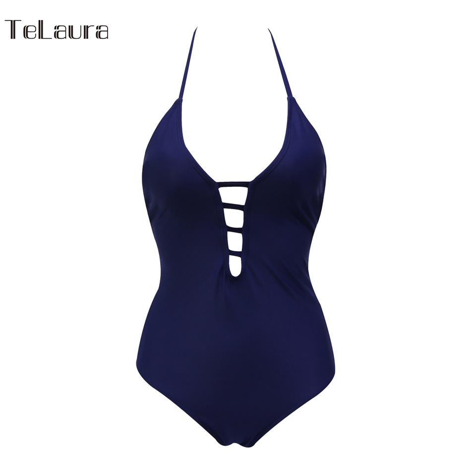 One Piece Swimsuit, Women's Bandage Vintage Beach Wear, Solid Bathing Suit, Monokini Retro Swimsuit 29