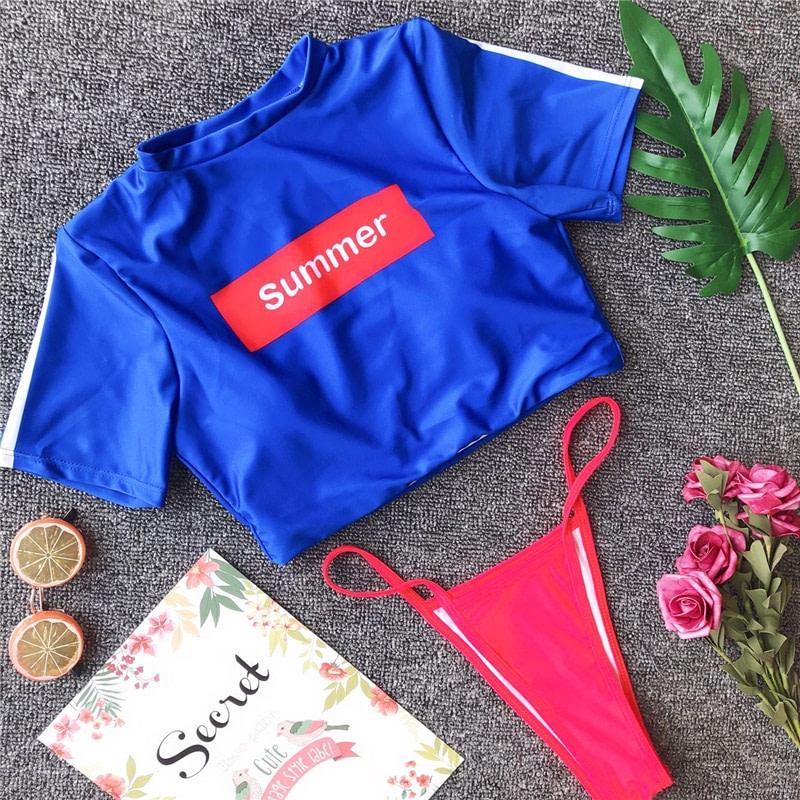 Women's Brazilian Thong Bikini, 2019 Women's T-Shirt Swimsuit, Push up, Two-Piece Suit 52