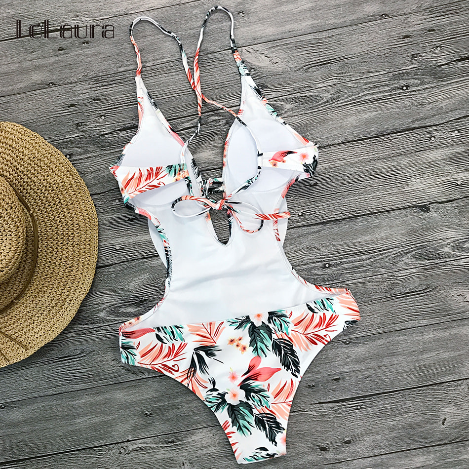 Sexy Ruffle One Piece Swimsuit, Women's Swimwear, Monokini Bodysuit Print Swim Suit, Backless Bathing Suit Beach Wear 51
