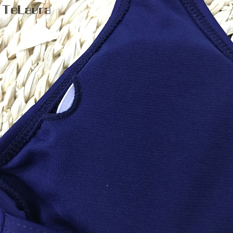 One Piece Swimsuit, Women's Bandage Vintage Beach Wear, Solid Bathing Suit, Monokini Retro Swimsuit 34