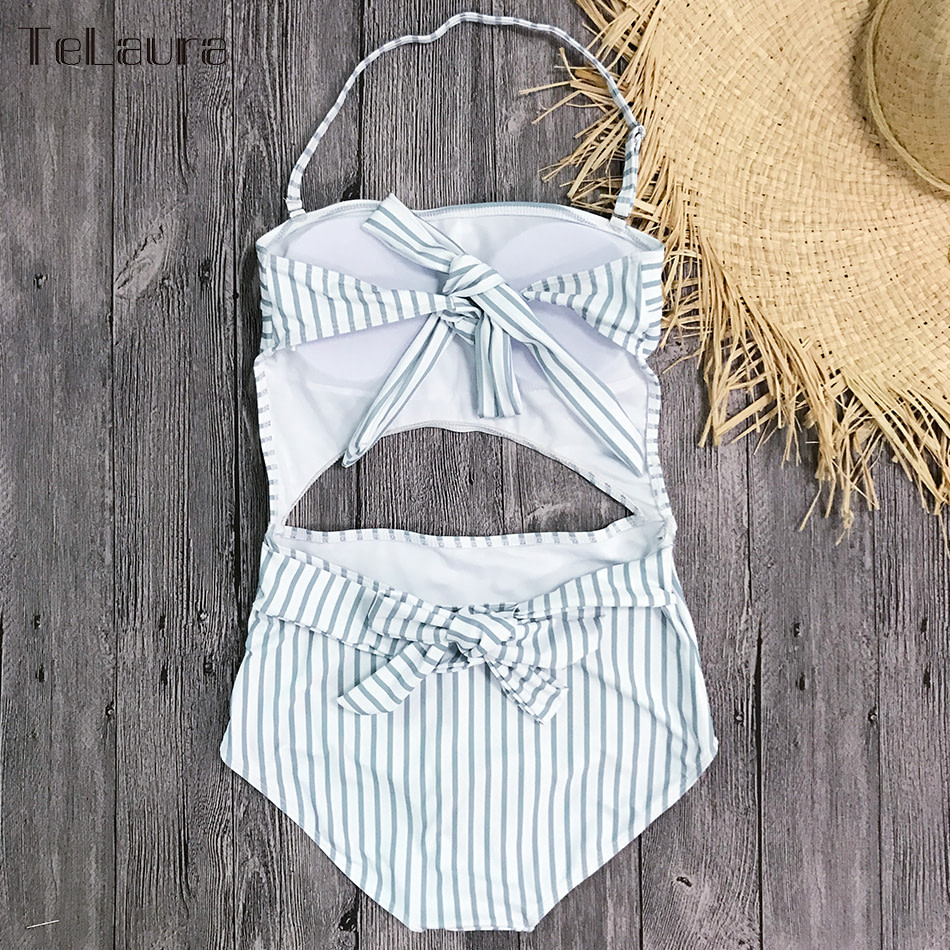 2019 One Piece Swimsuit, Women's Monokini Halter Bodysuit, Bandage Swimsuit, Hollow Out High Waist Bathing Suit 36