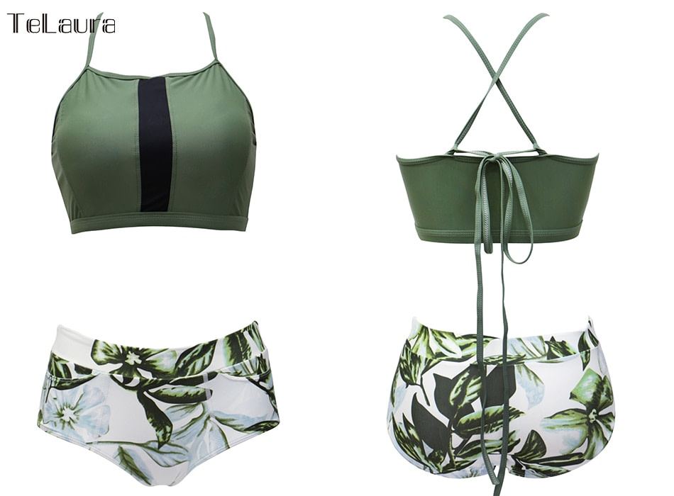 New 2 Piece, High Waist, Bikini Swimwear, Women's Push Up Biquini Bathing Suit, High Neck Women's Summer Beach Wear 18