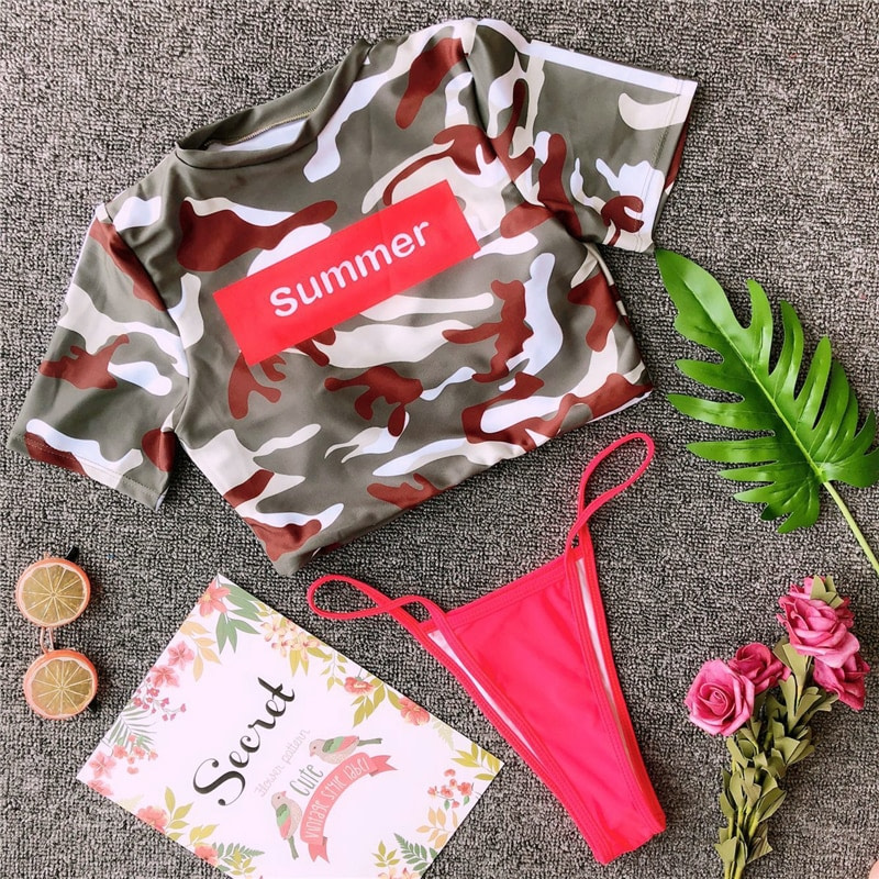 Women's Brazilian Thong Bikini, 2019 Women's T-Shirt Swimsuit, Push up, Two-Piece Suit 51