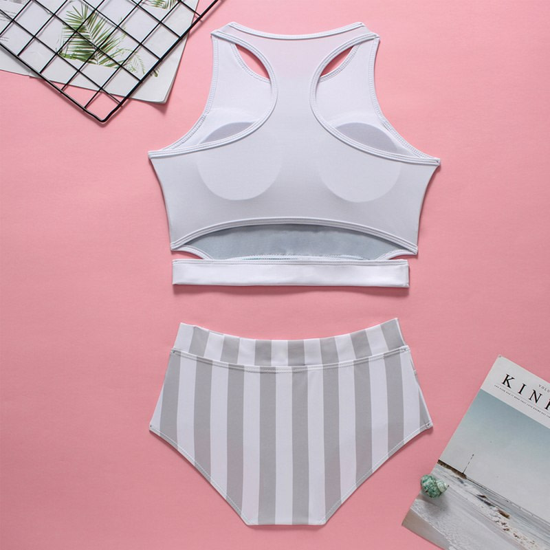 2019 High Neck 2 Piece Crop Top, Women's Striped Bathing Suit 29