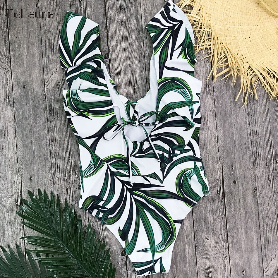Sexy Ruffle One Piece Swimsuit, Women's Swimwear, Monokini Bodysuit Print Swim Suit, Backless Bathing Suit Beach Wear 25