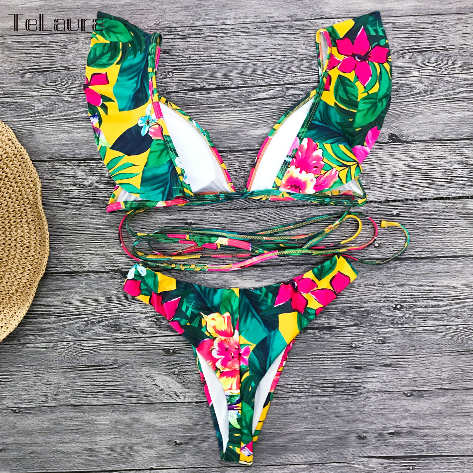 2019 Sexy Bikini Swimwear, Women's Swimsuit, Push Up Bikinis, Women's Biquini Bathing Suit, Ruffle Swimsuit 14