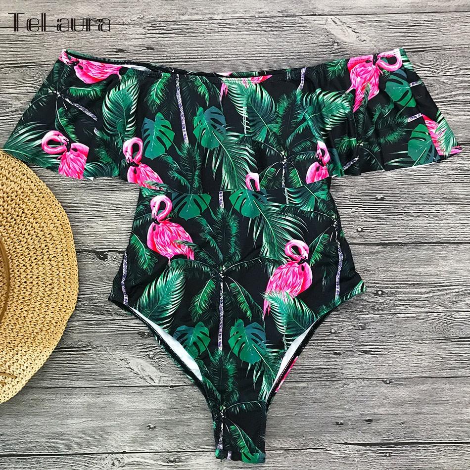2019 Sexy Ruffle One Piece Swimsuit, Women's Monokini Off Shoulder Swim Suit 22