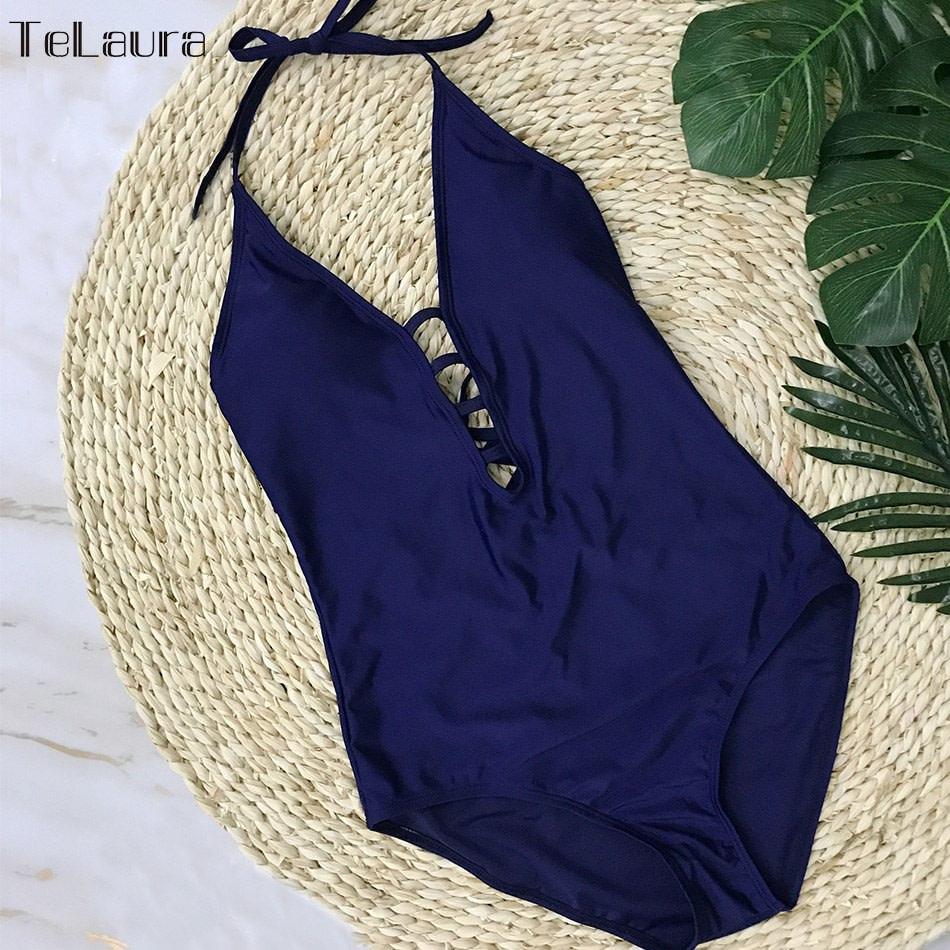 One Piece Swimsuit, Women's Bandage Vintage Beach Wear, Solid Bathing Suit, Monokini Retro Swimsuit 31