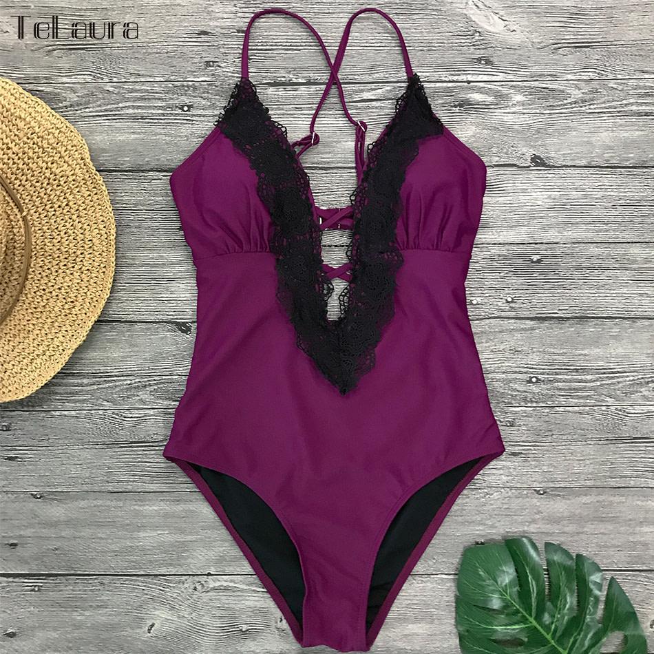 2019 Sexy Lace One Piece Swimsuit, Women's Monokini Bandage Bodysuit Beach Wear Bathing Suit 17