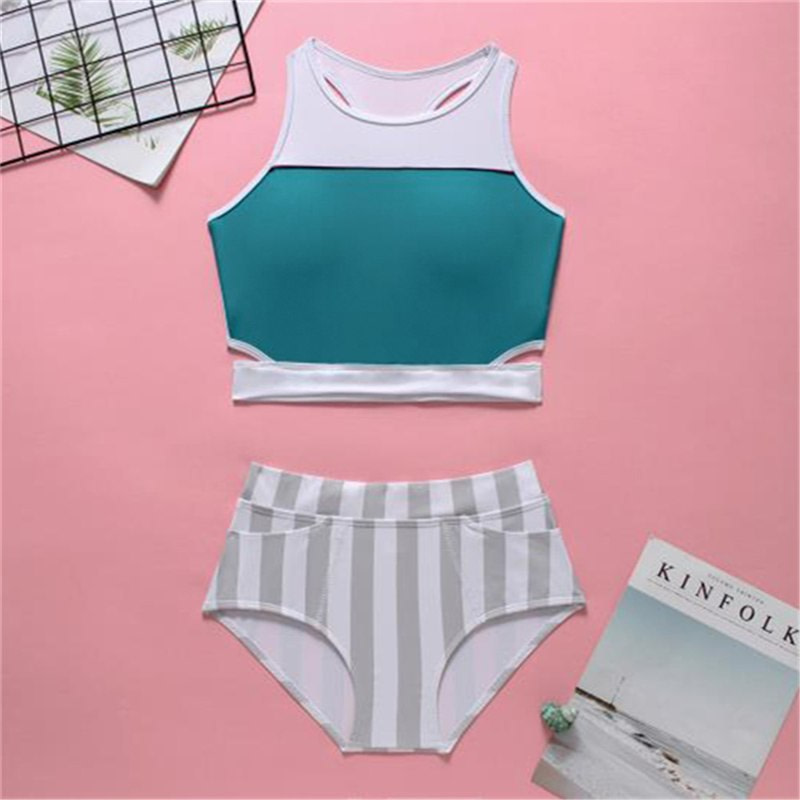 2019 High Neck 2 Piece Crop Top, Women's Striped Bathing Suit 28