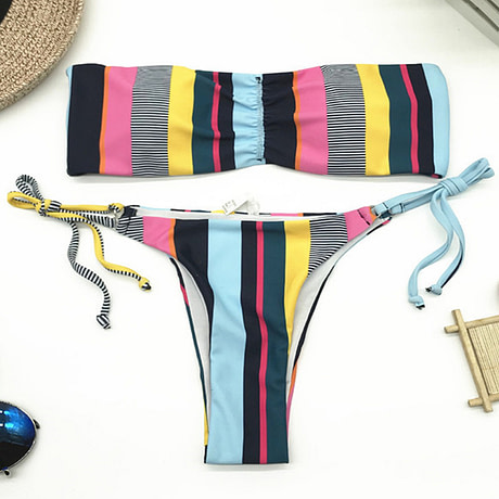 Bandeau Bikini, 2019 Striped, Strapless, Push Up Swimwear, Women's Tie Side Bathing Suit 5