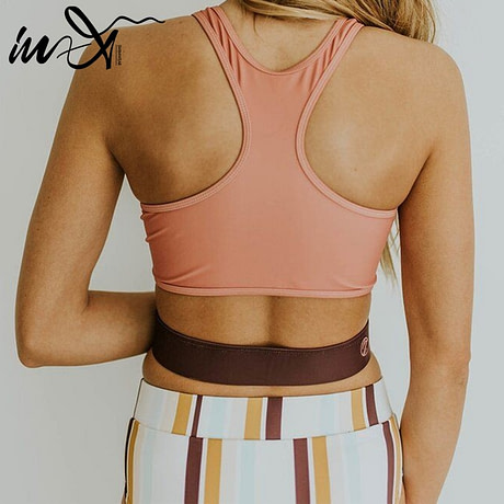 2019 High Neck 2 Piece Crop Top, Women's Striped Bathing Suit 5