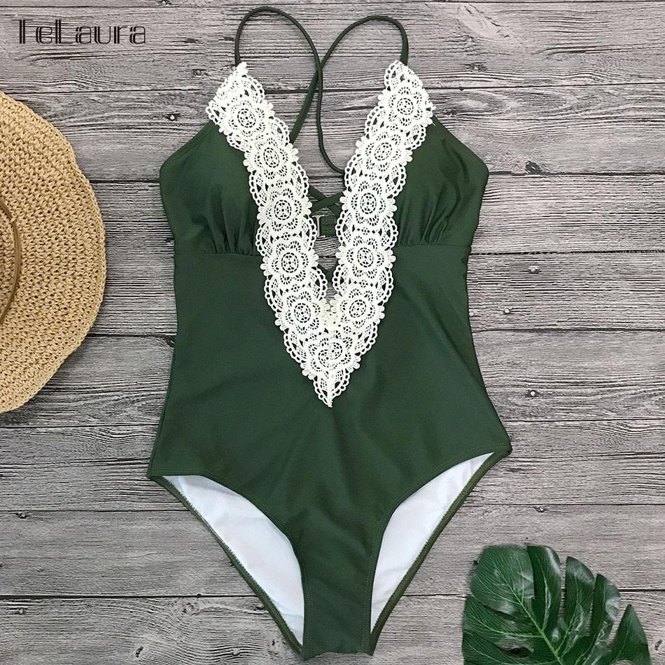 2019 Sexy Lace One Piece Swimsuit, Women's Monokini Bandage Bodysuit Beach Wear Bathing Suit 8