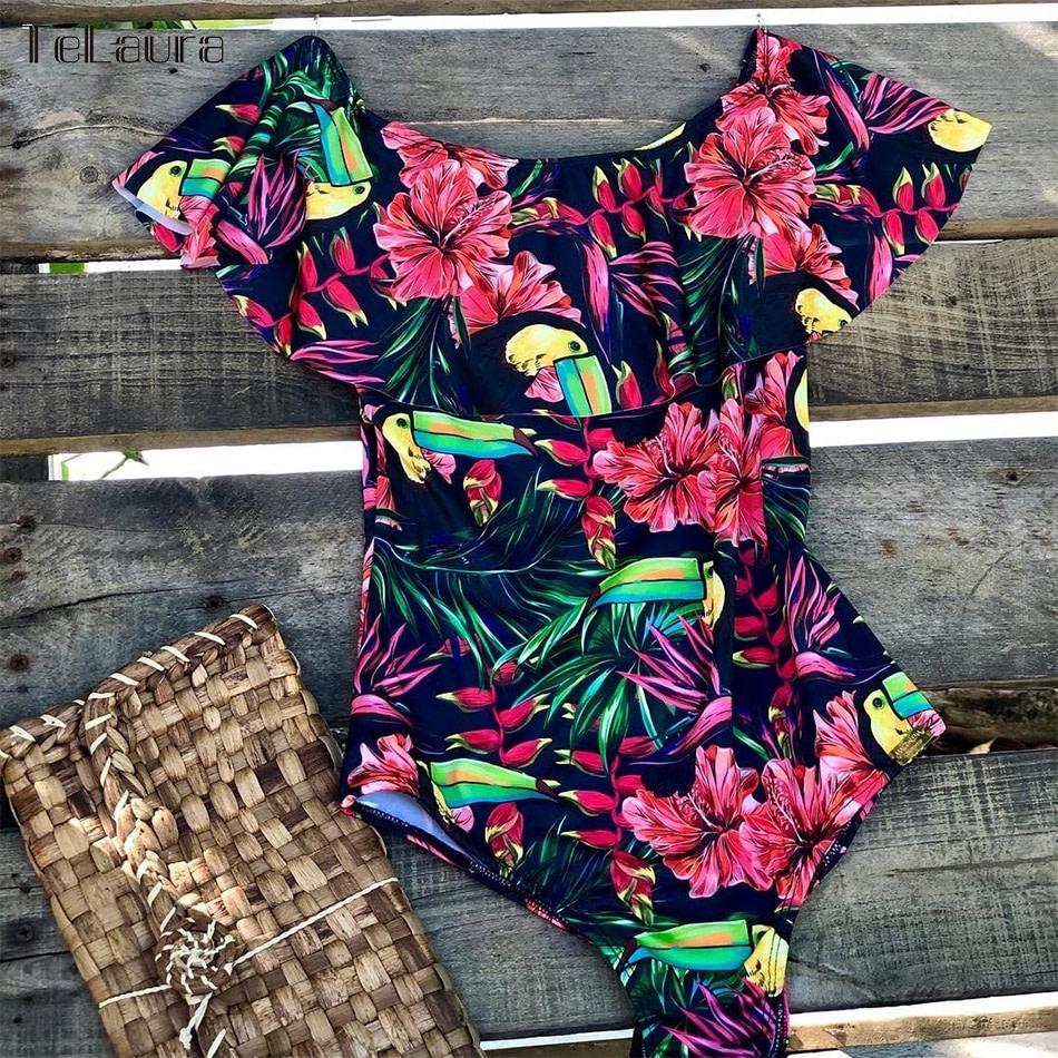2019 Sexy Ruffle One Piece Swimsuit, Women's Monokini Off Shoulder Swim Suit 17