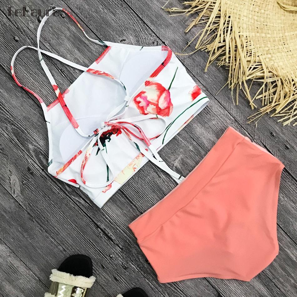 New 2 Piece, High Waist, Bikini Swimwear, Women's Push Up Biquini Bathing Suit, High Neck Women's Summer Beach Wear 9