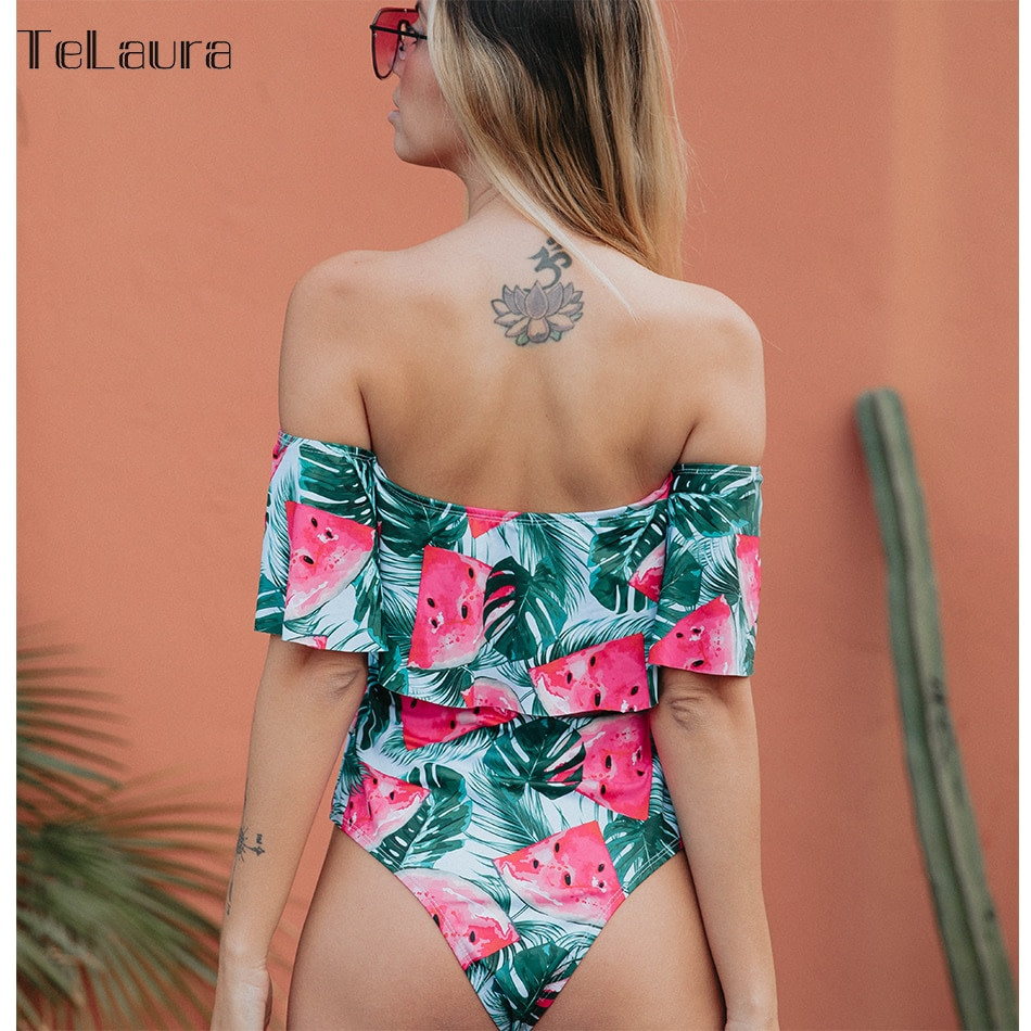 2019 Sexy Ruffle One Piece Swimsuit, Women's Monokini Off Shoulder Swim Suit 13