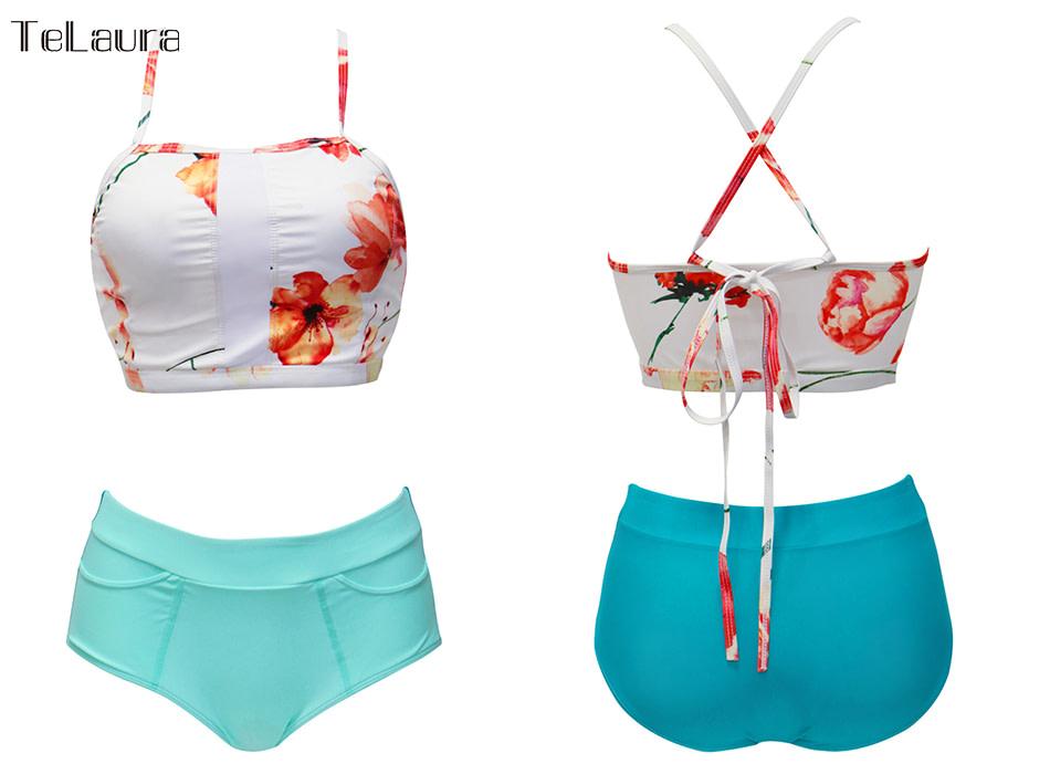 New 2 Piece, High Waist, Bikini Swimwear, Women's Push Up Biquini Bathing Suit, High Neck Women's Summer Beach Wear 17