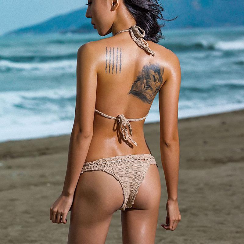 Handmade Crochet Bikinis, 2019 Sexy Tassel Swimsuit,Women's Shell Decorated Swimwear, High Neck 2 Piece Suit 16