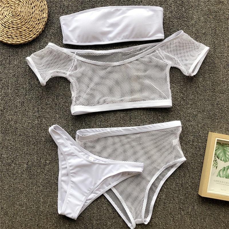 New 2019 Mesh High Waist Bikini, Off Shoulder Swimsuit, Female Push Up Sexy Bathing Suit, Bandeau Bikini Set 37