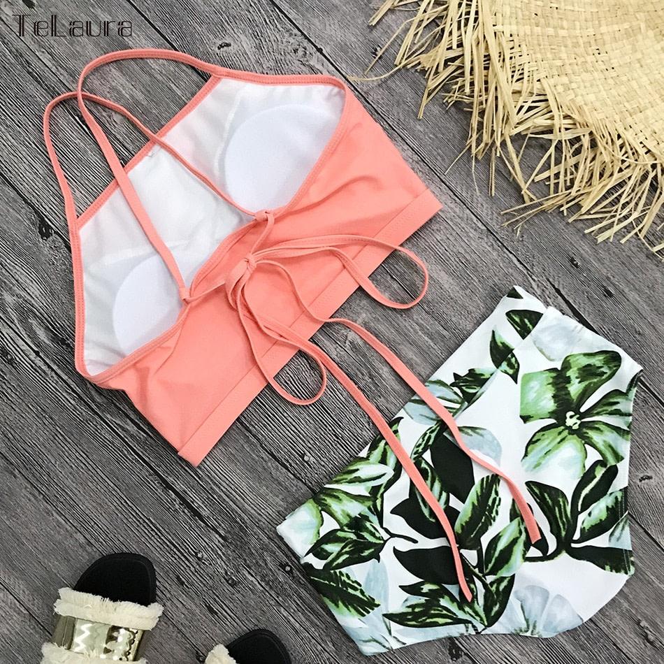 New 2 Piece, High Waist, Bikini Swimwear, Women's Push Up Biquini Bathing Suit, High Neck Women's Summer Beach Wear 15