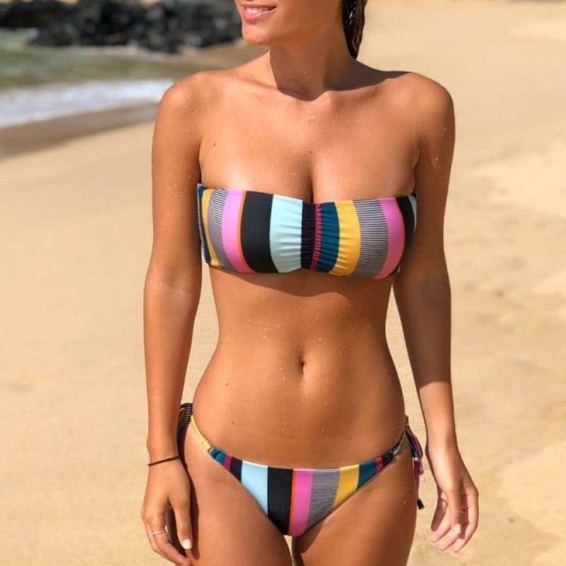 Bandeau Bikini, 2019 Striped, Strapless, Push Up Swimwear, Women's Tie Side Bathing Suit 14