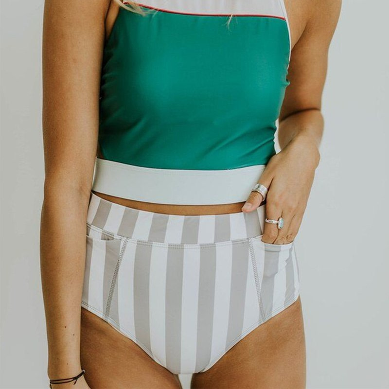 2019 High Neck 2 Piece Crop Top, Women's Striped Bathing Suit 18