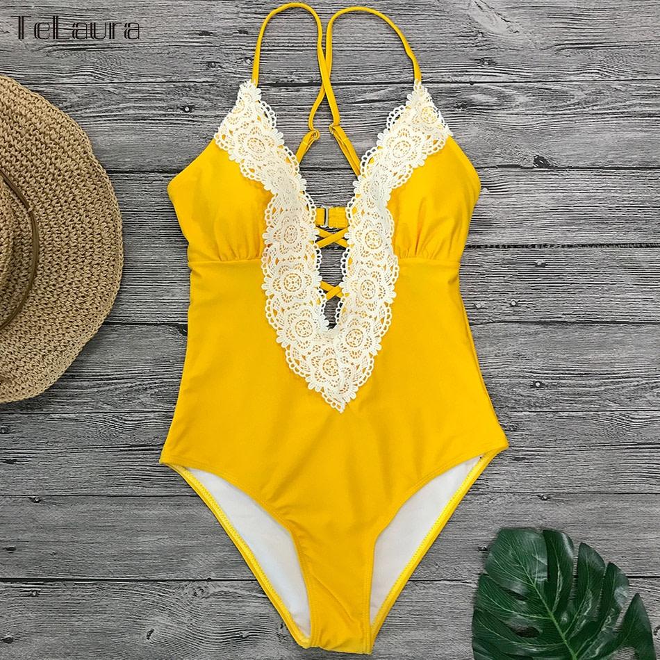 2019 Sexy Lace One Piece Swimsuit, Women's Monokini Bandage Bodysuit Beach Wear Bathing Suit 19