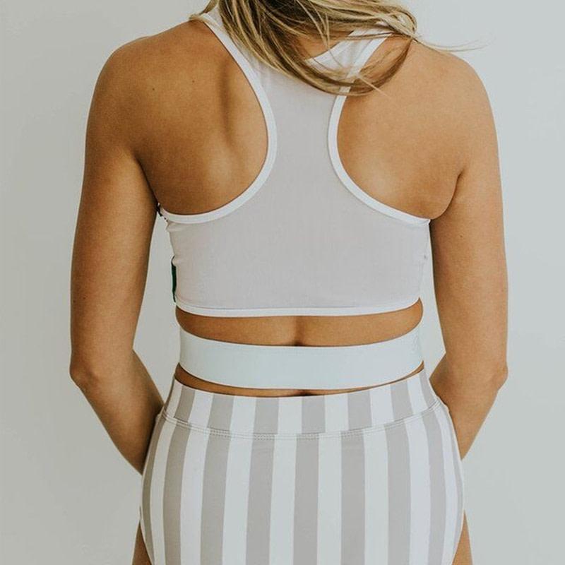 2019 High Neck 2 Piece Crop Top, Women's Striped Bathing Suit 26