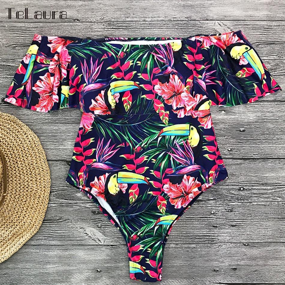 2019 Sexy Ruffle One Piece Swimsuit, Women's Monokini Off Shoulder Swim Suit 25